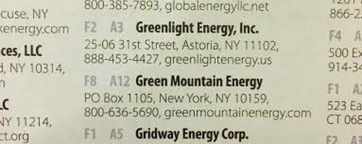 Green Mountain Energy's Locating ID's (F8 and A12)