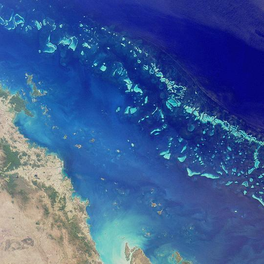 Aerial View of Great Barrier Reef by  NASA
