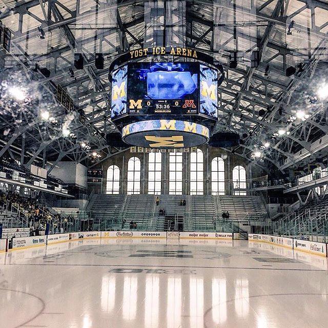 What an amazing barn... #michigan #wolverines #uofm #yost #hockey #hockeylife #collegehockey #maizeandblue