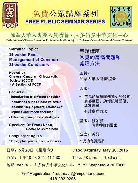 FCCP Seminar: Shoulder Pain — Chinese Canadian Pharmacists