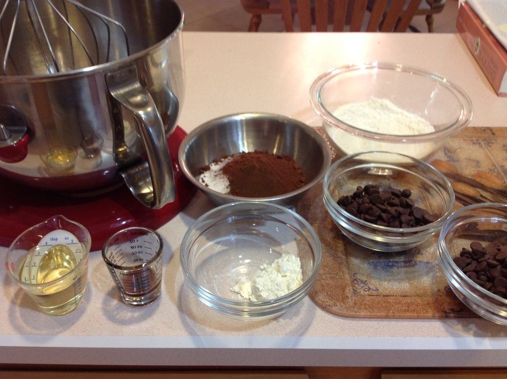 Mise-en-place for brownie brittle