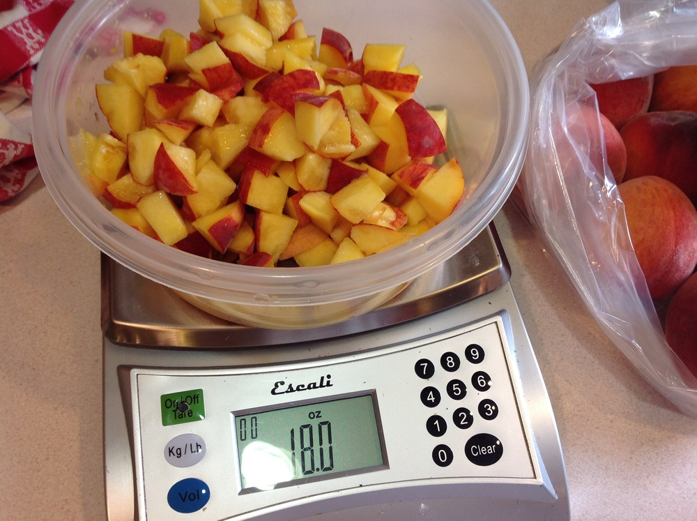 One cup of diced fresh peaches weighs six ounces.