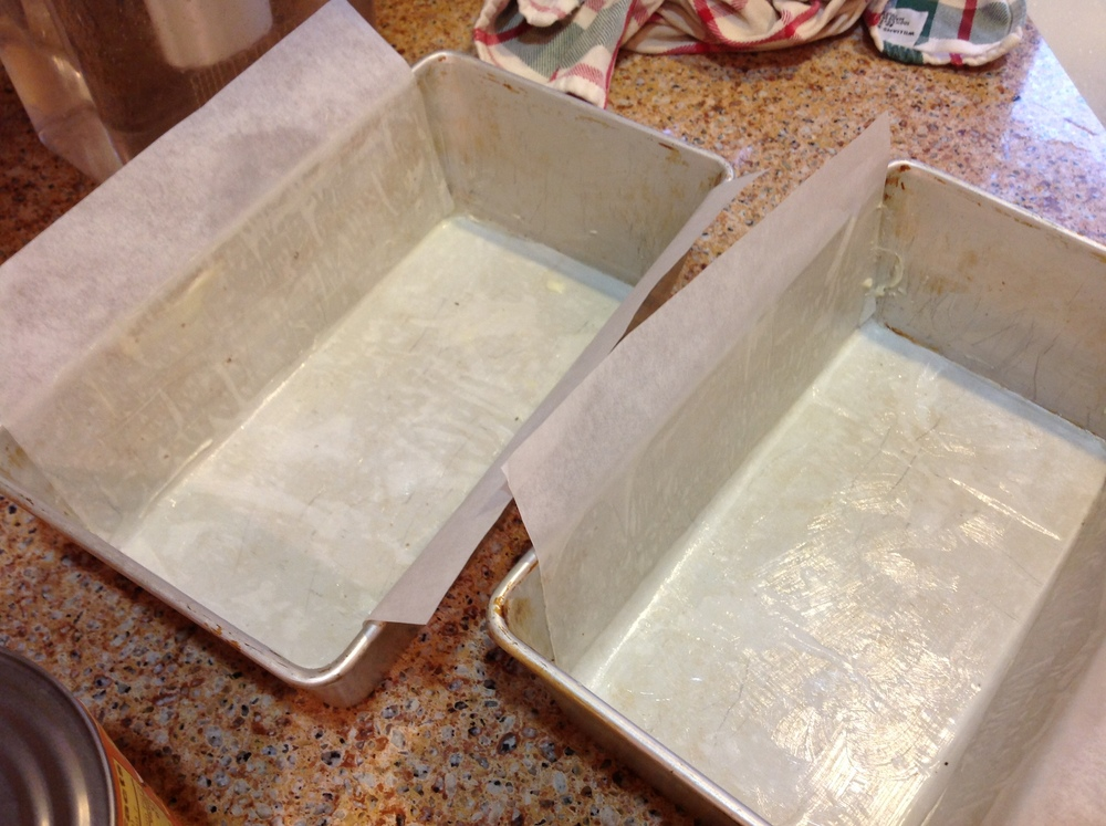 Loaf pans prepped and ready for batter!