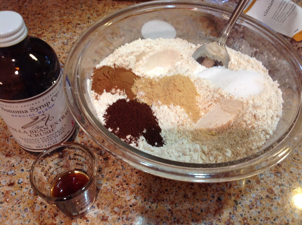 Dry ingredients and vanilla ... check and check!