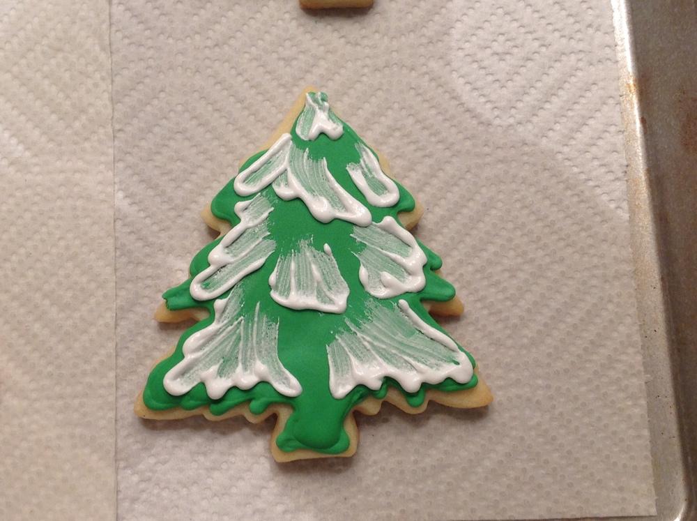 Snowy evergreen tree sugar cookies