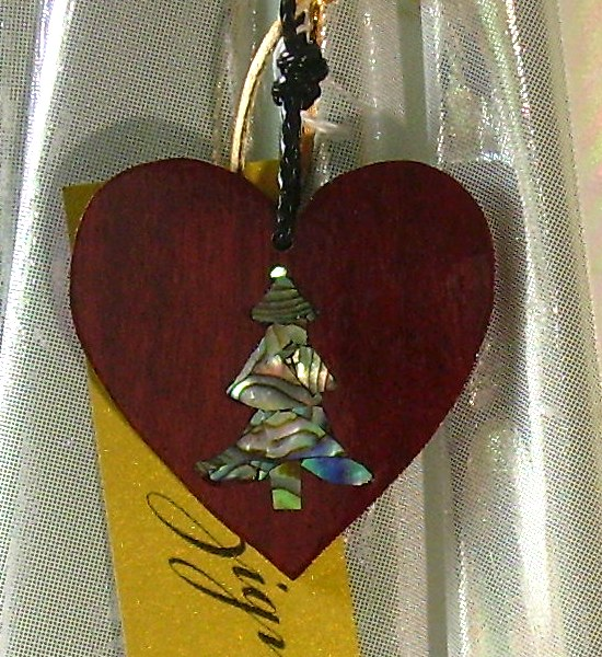purpleheart wood heart with abalone mosaic tree inlay
