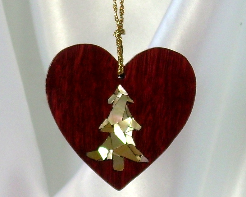 purpleheart wood heart with tree mosaic inlay of golden mother-of-pearl