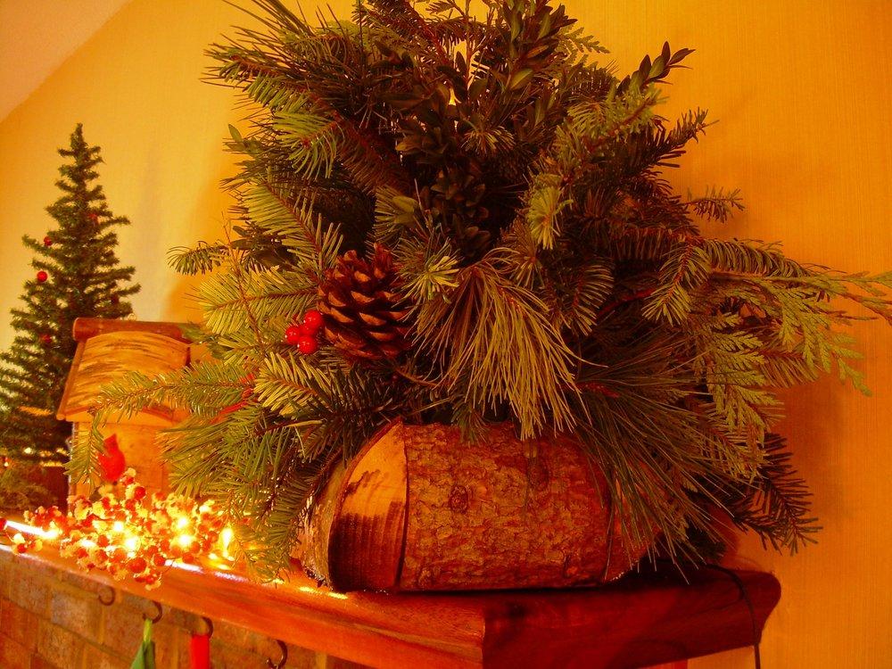 indoor/outdoor mixed evergreen log basket arrangement