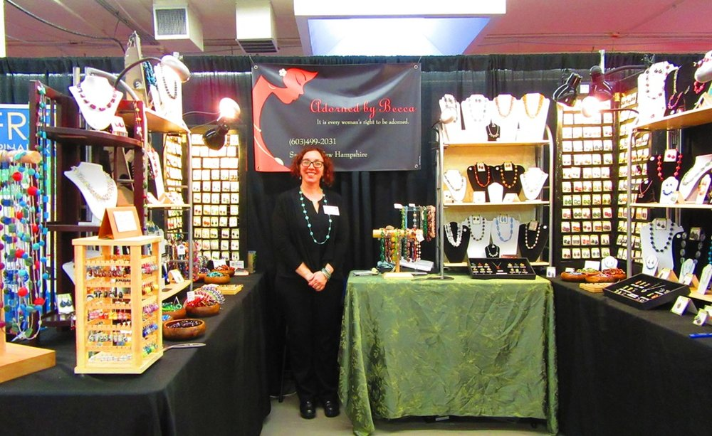 Across the aisle Becca, from Adorned by Becca, is back at the Made in NH Expo after a long hiatus.  I'm sure they're glad she came back.