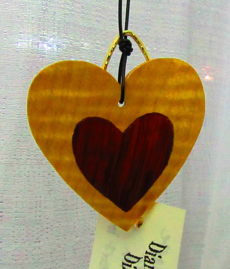 Curly Maple heart with Redheart heart inlay