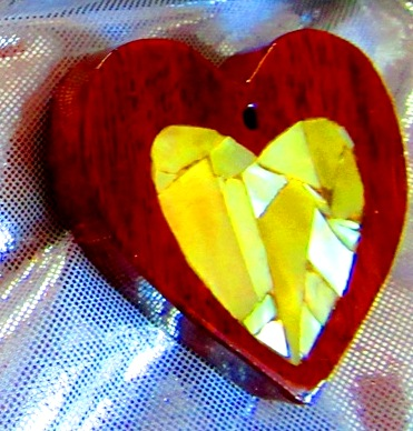 Redheart wood heart with golden Mother-of-Pearl mosaic heart inlay