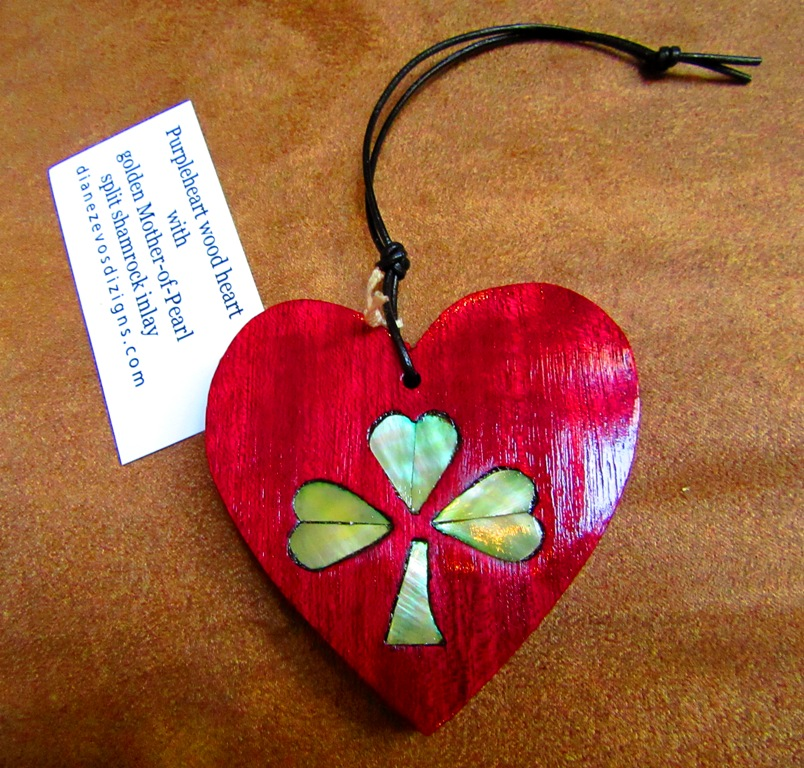 Purpleheart wood heart with golden Mother-of-Pearl split shamrock inlay stained green