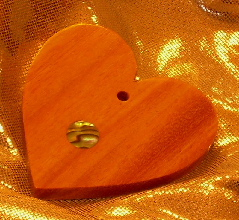 Osage Orange dot inlay heart