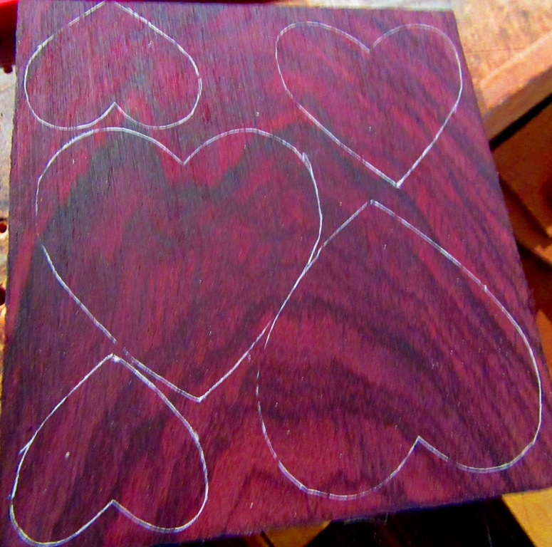 Rosewood resawn piece with hearts drawn