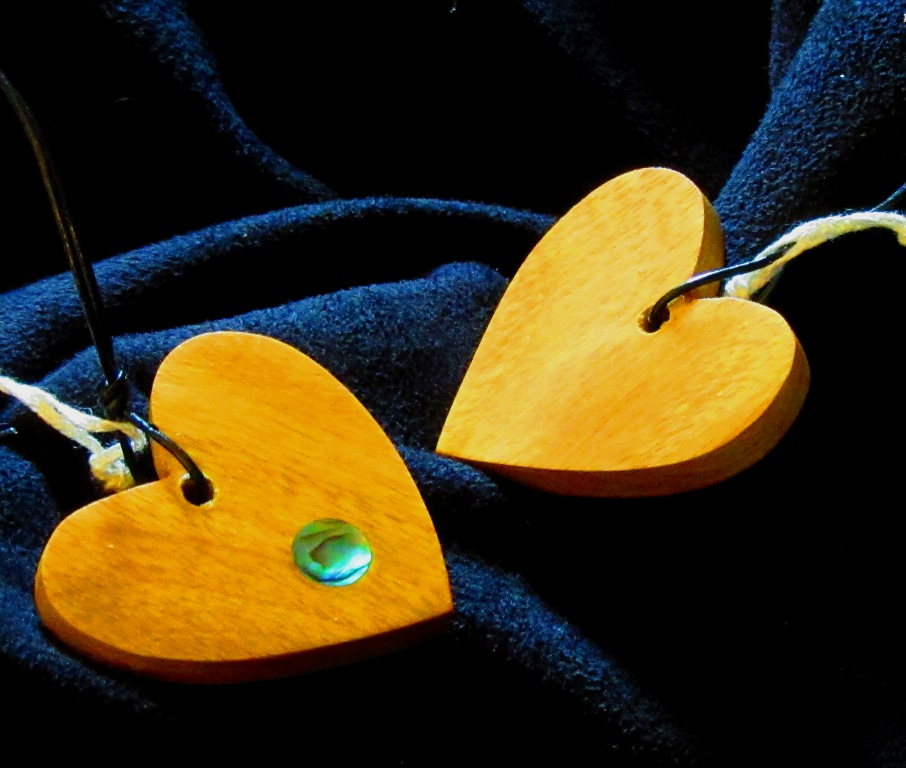 Osage Orange wood heart with Abalone dot inlay