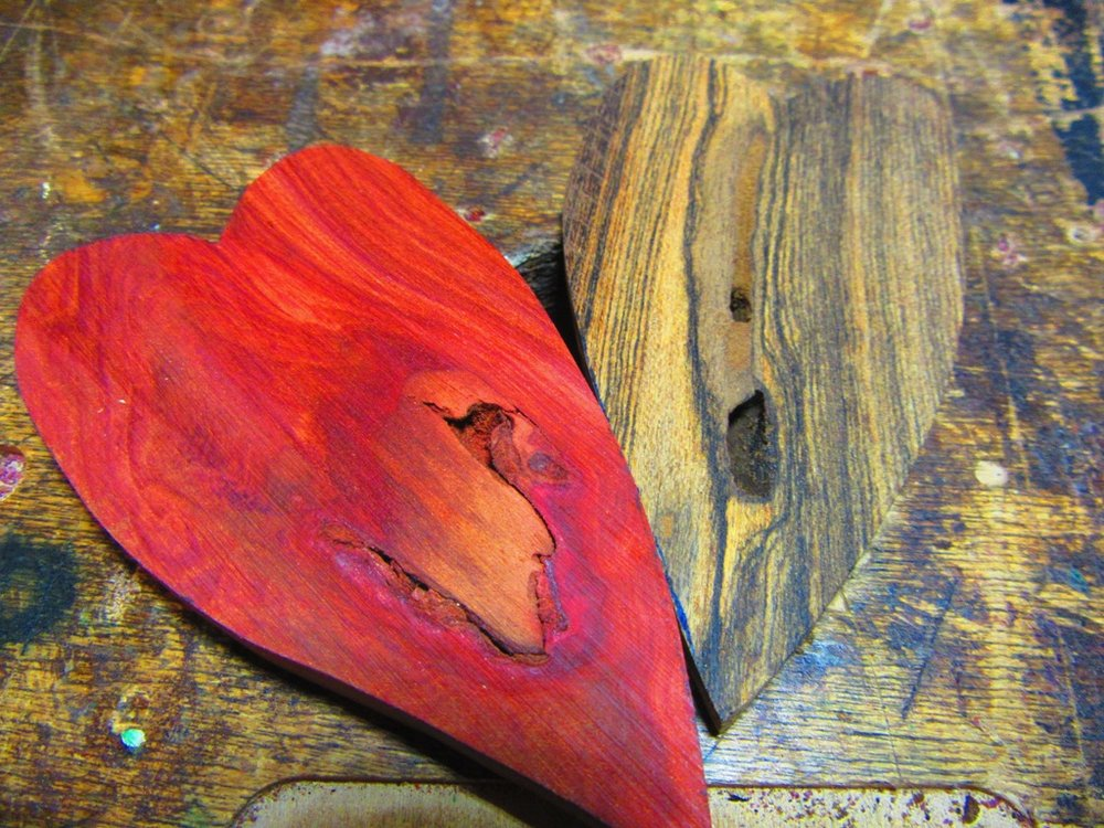 raw Redheart and Bocote hearts