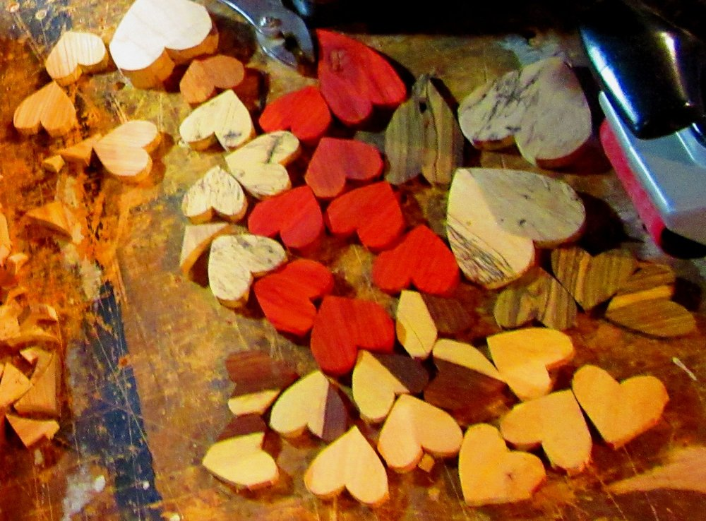 These are all the raw cut hearts that I showed earlier with hearts drawn on the separate long pieces.