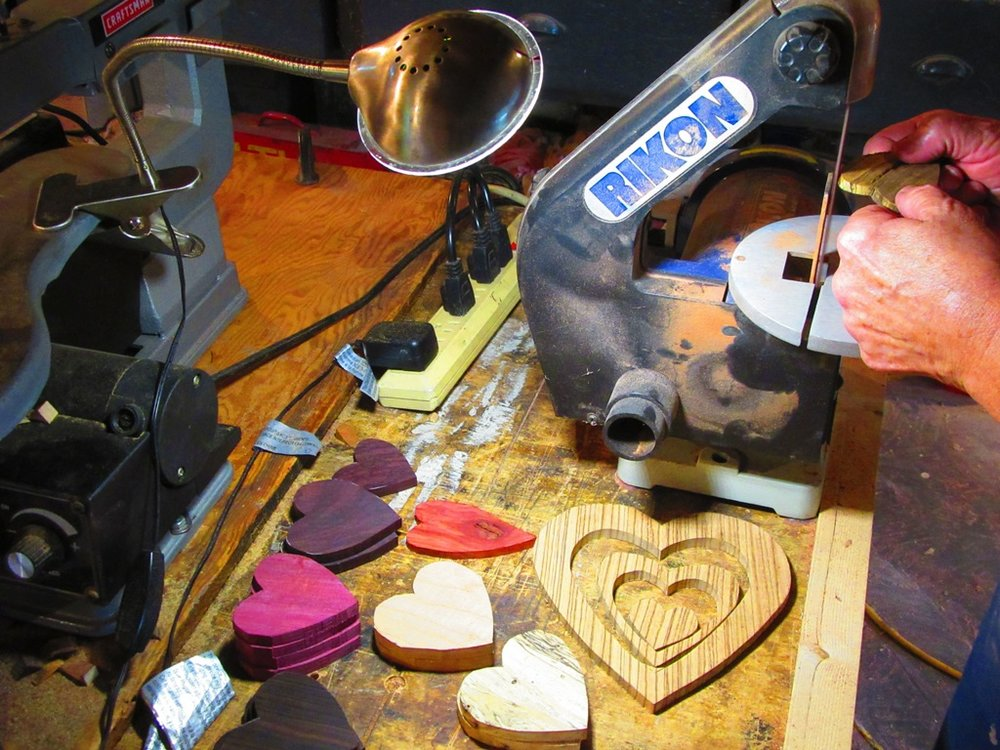sanding the hearts