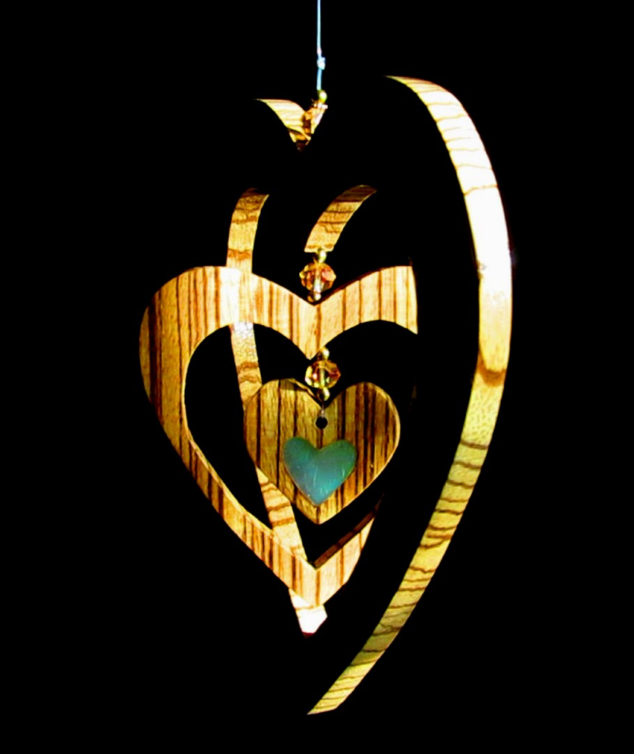 "7"" 3 heart Zebrawood hanging piece with beads and Mother-of-Pearl solid heart inlay in small heart"