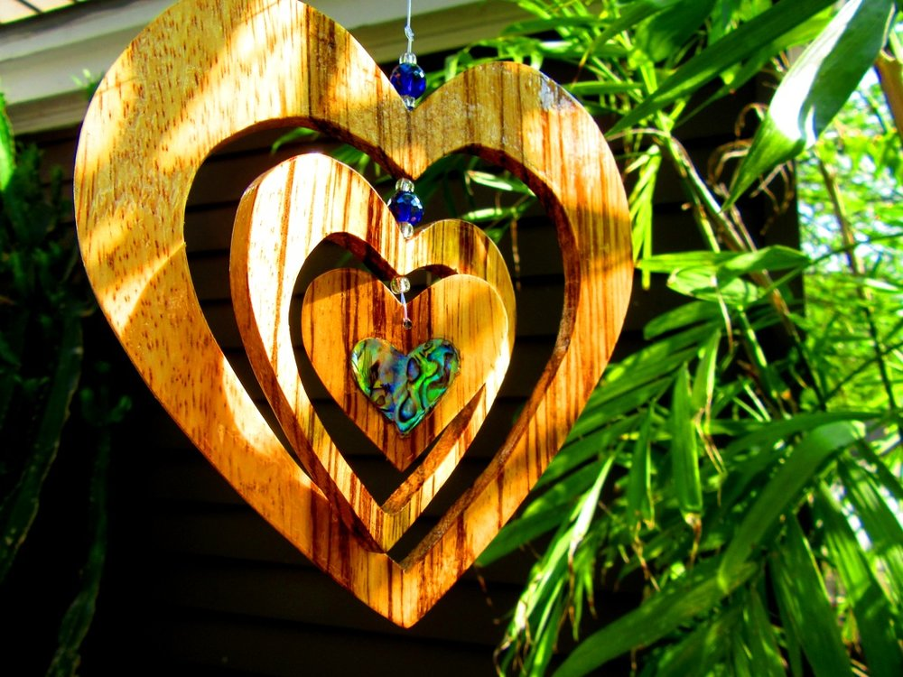 "6"" 3 heart Zebrawood hanging piece with beads and solid Abalam heart inlay in small heart"