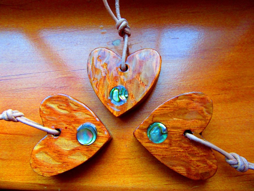 Lacewood hearts with Abalone dot inlay