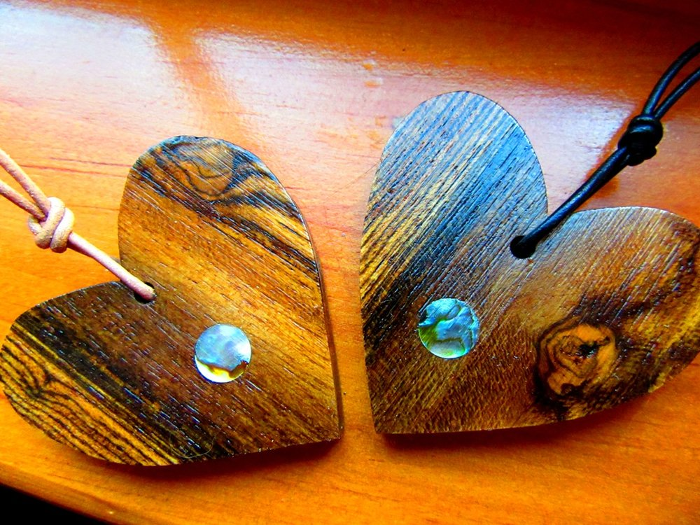Bocote wood hearts with Abalone dot inlay