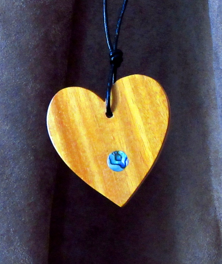 Osage Orange heart with Abalone dot inlay