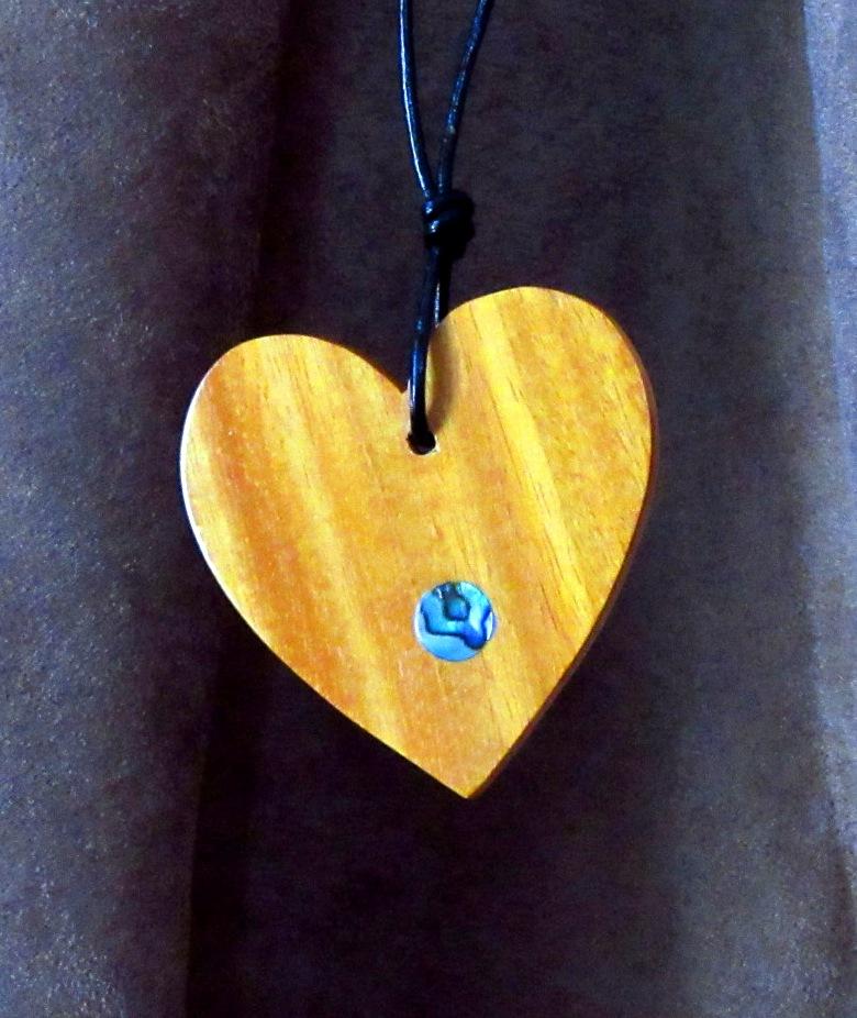 Osage Orange heart with Abalone dot inlay