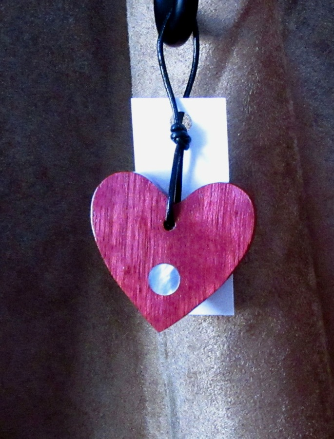 Purpleheart wood heart with Golden Mother-of-Pearl dot inlaty