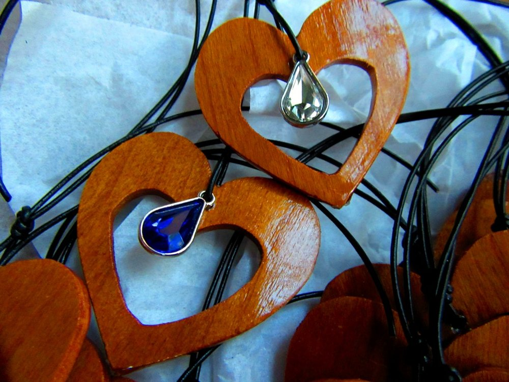 Mahogany thins with heart cutout and jewel embellishment