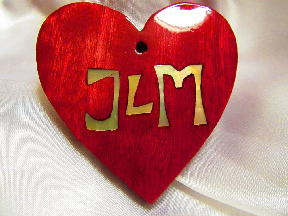 Purpleheart wood heart with Golden Mother-of-Pearl initials inlay