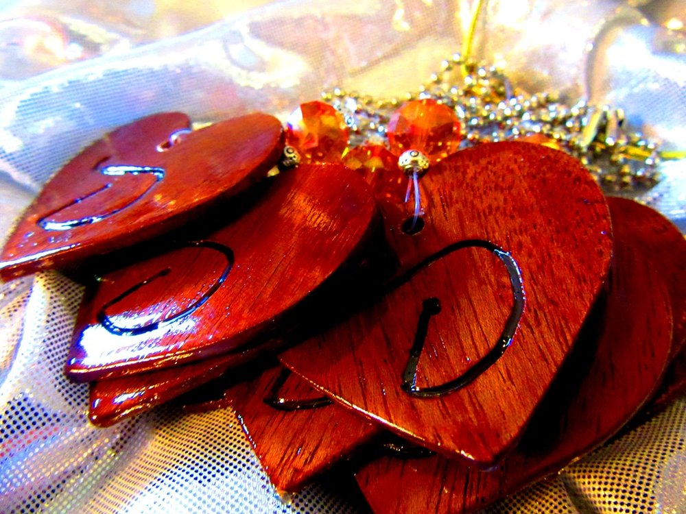 Mahogany thin hearts with jewel embellishment