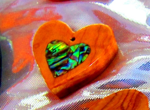 Osage Orange heart with Abalam mosaic heart inlay