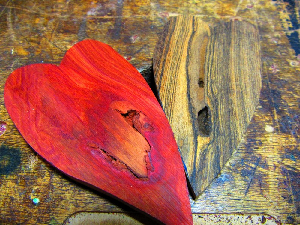 raw, elongated Redheart and Bocote hearts