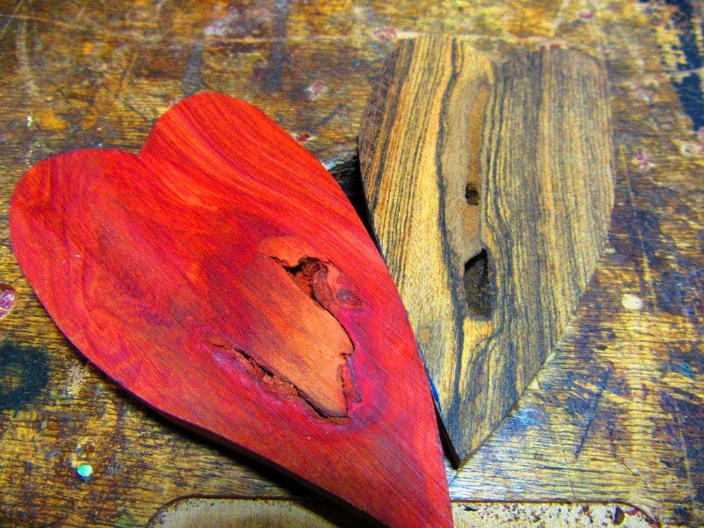 raw, elongated Redheart and Bocote hearts