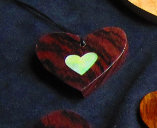 "a little bigger than 2"" Rosewood heart with Golden Mother-of-Pearl solid heart inlay"