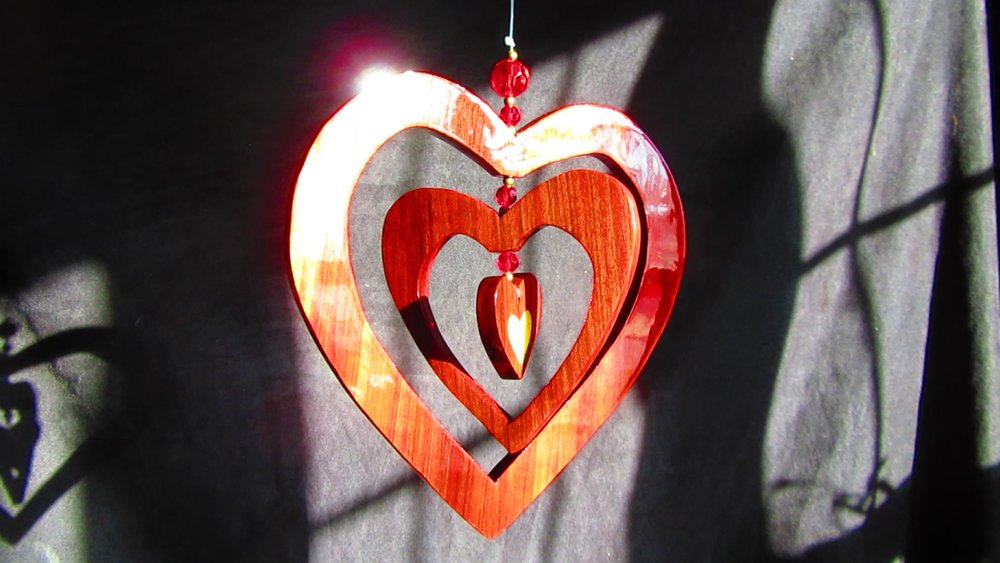 Redheart 3-heart hanging piece with Golden Mother-of-Pearl heart inlay and beads