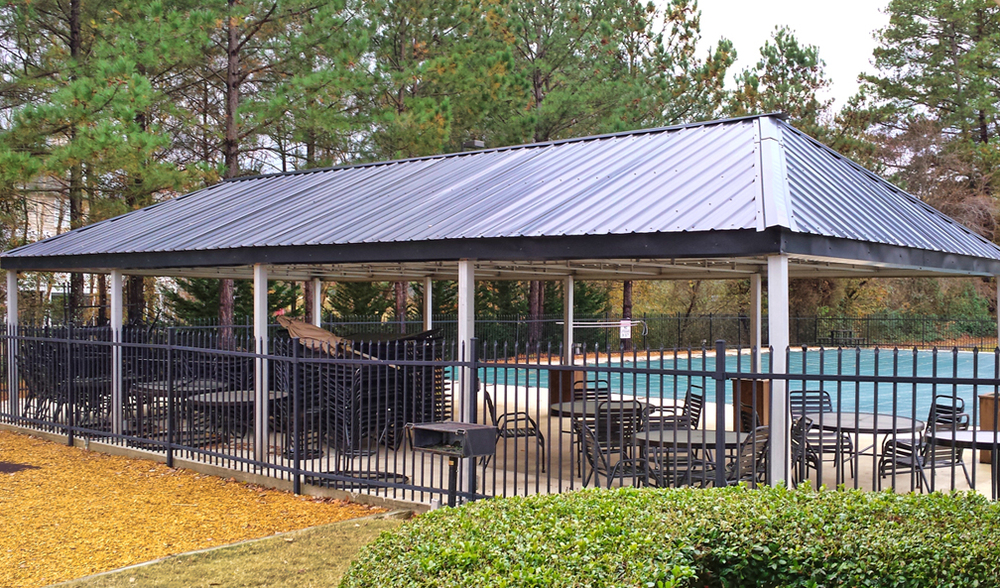 Pool Pavilion Metal Roof Installation