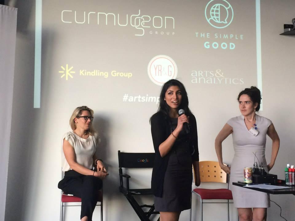 Liz Stanton, Priya Shah, and Josie Davis speaking on the Social Impact Panel at Google