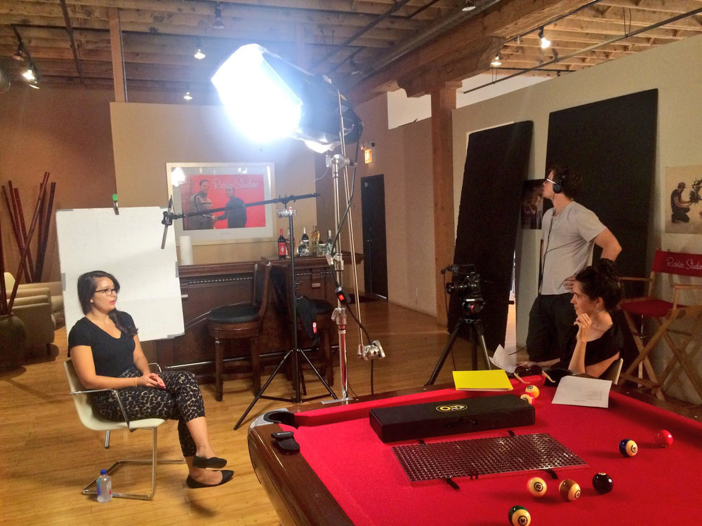 Post-Production Interviews at Richter Studios led by Shy Robot Films and Producer Josie Davis. Project manager Lourdes Rodgers on camera