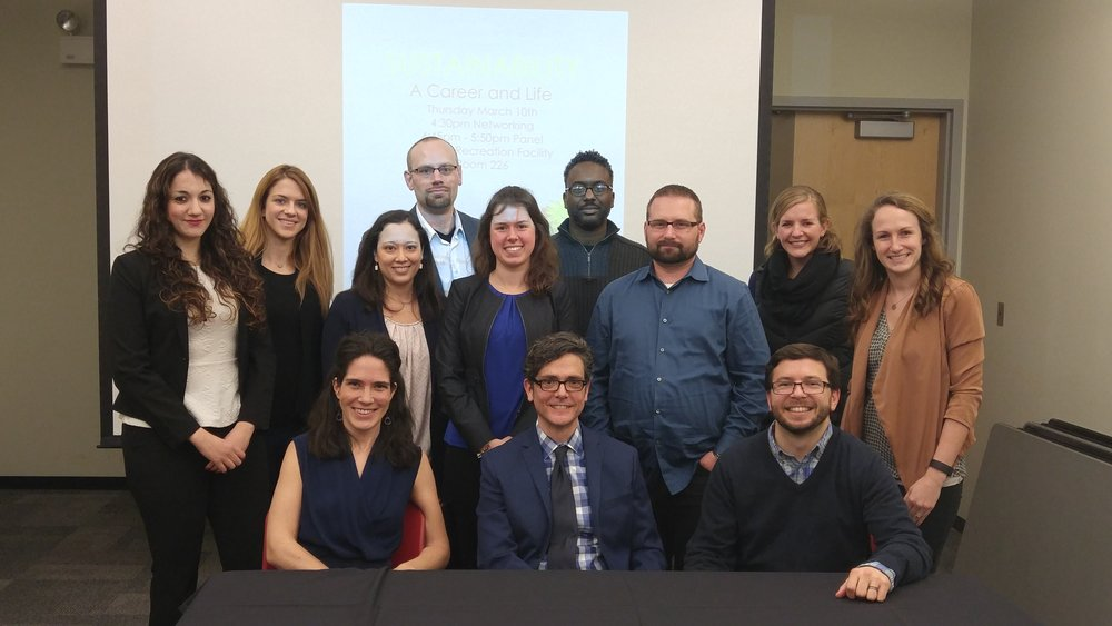 Net Impact poses with panelists at UIC, including Curmudgeon Group, on a discussion of sustainability.