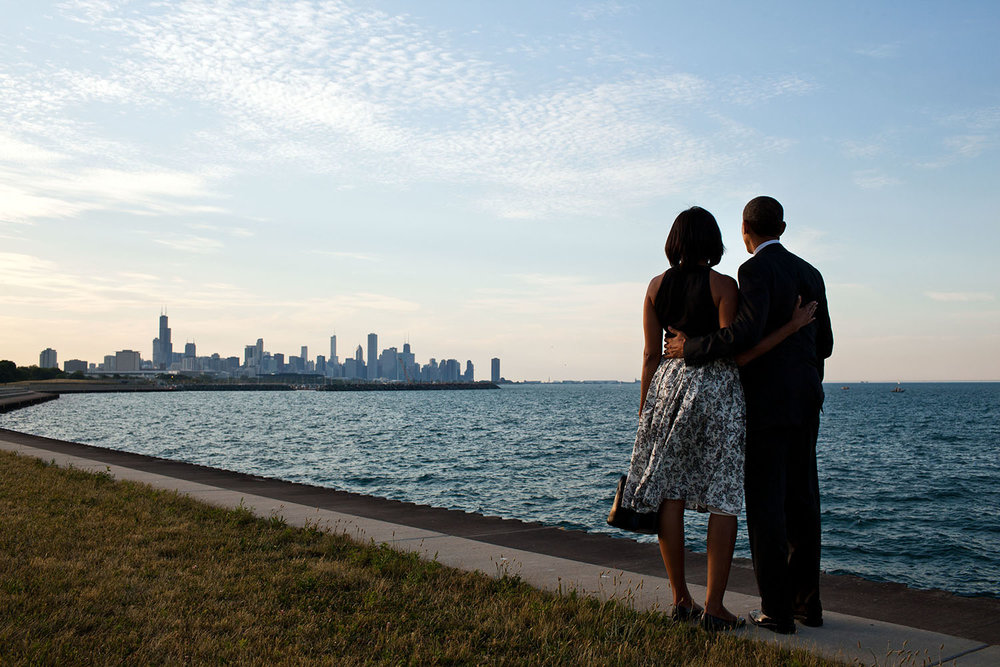 President Barack Obama and First Lady Michelle Obama look out at the Chicago, Illinois, skyline, June 15, 2012.