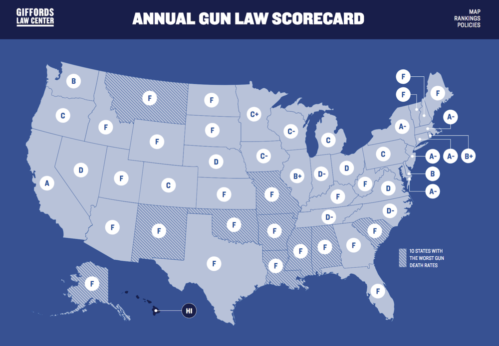 Check out how your state rates on gun control with this Scorecard provided by the  Giffords Law Center