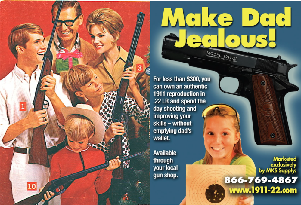 sample gun ads from the 1950's (left) and 1980's (right).