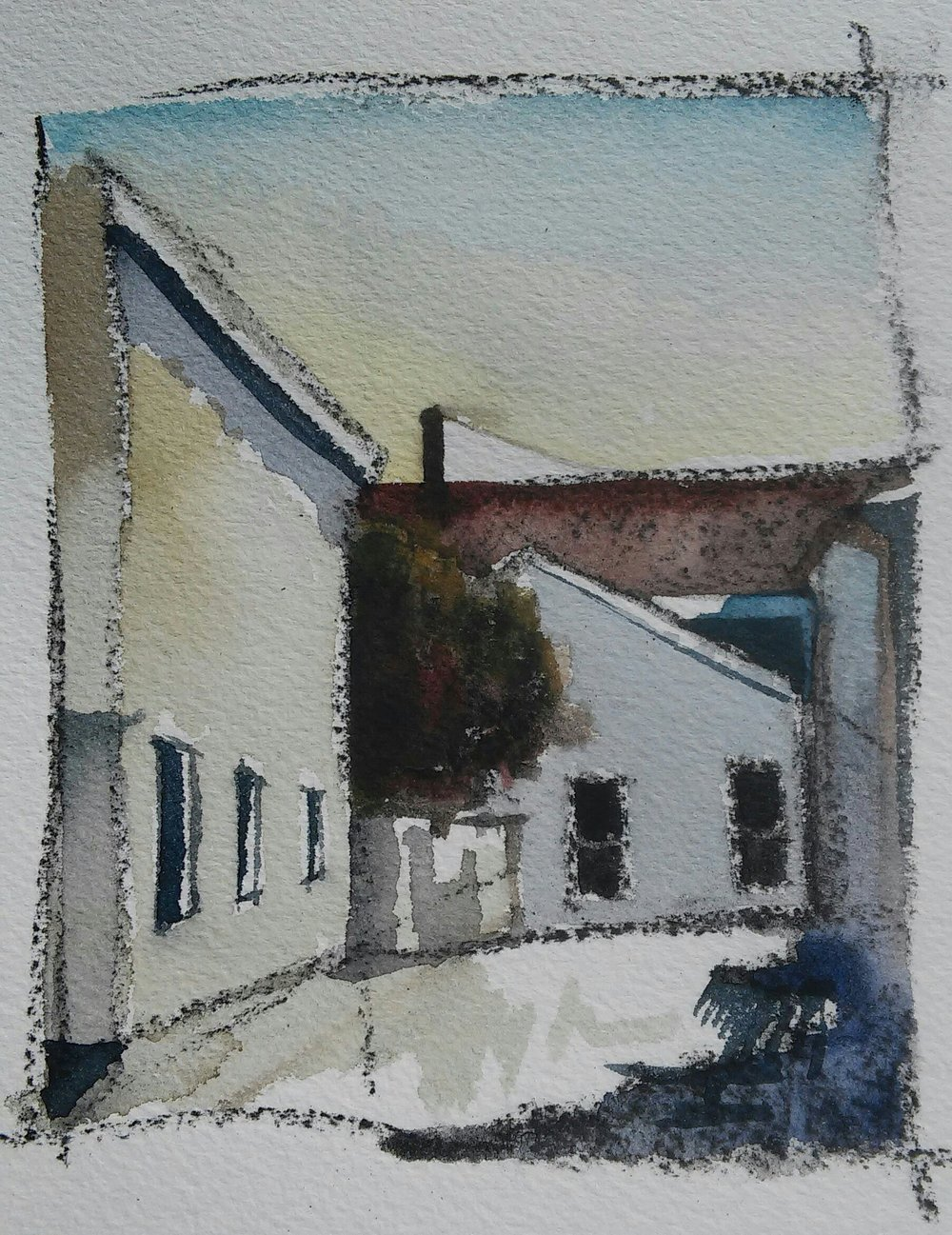 4x5 Watercolor on Watercolor paper Cambridge, High Street SOLD