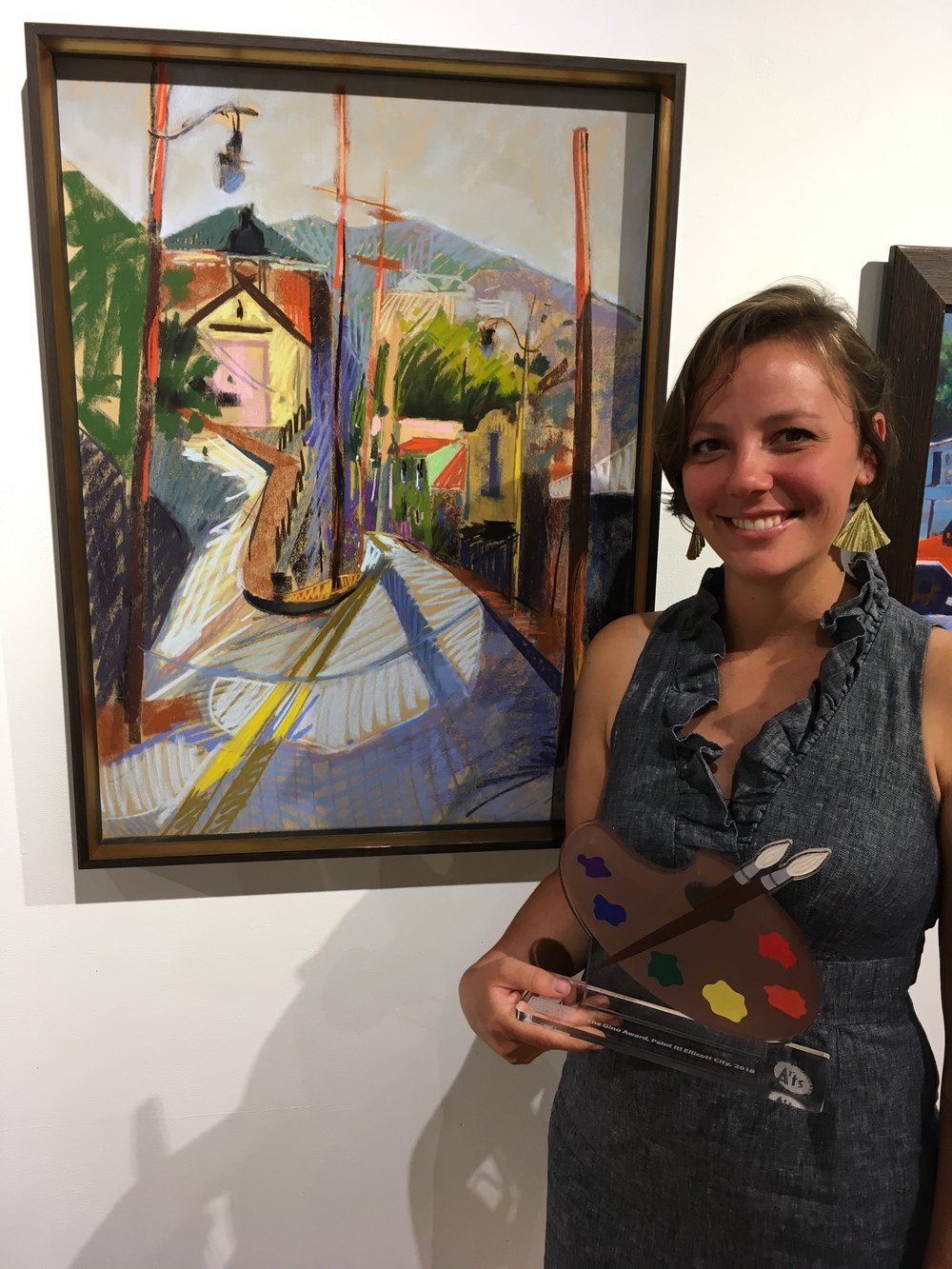 Accepting the GINO Award, Ellicott City Plein Air 2018