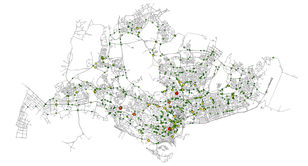 Mismatched high flow volume intersections in Singapore. Big, red dots represent severely matched intersections (up to 6 lanes that need to be redistributed within the intersection), small green dots represent intersections that need only 1 lane to be redistributed in order to match precisely the demand.