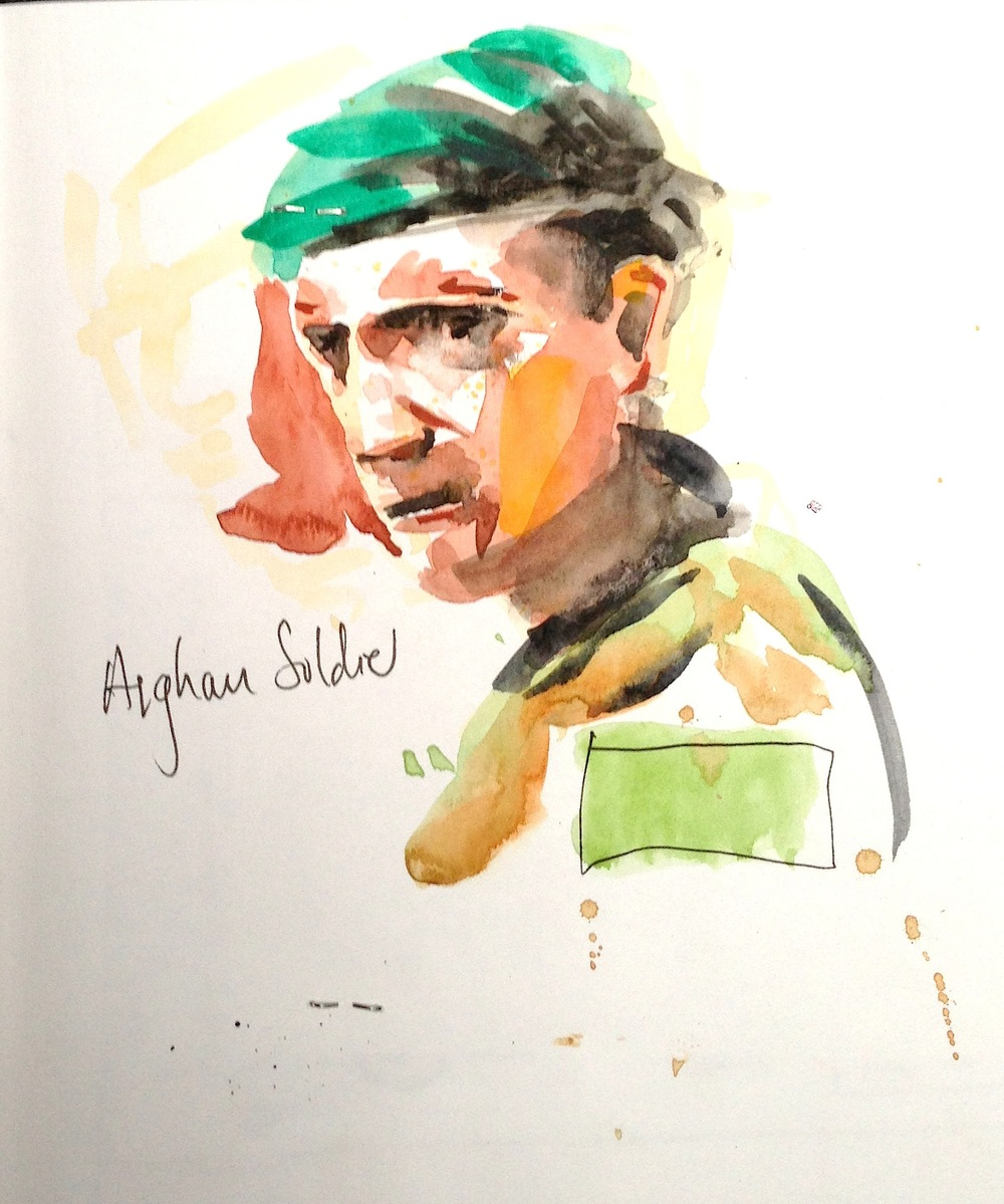 AFGHAN SOLDIER, Watercolour, 210 x 210mm (Unframed)