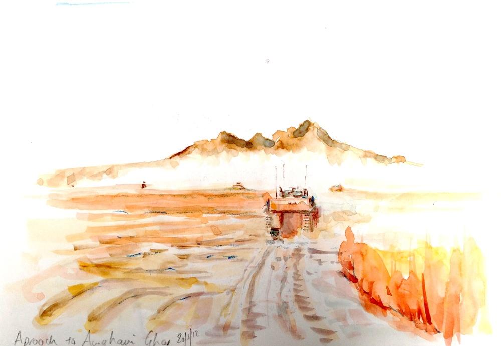 APPROACH TO AGWANI GHAR, Watercolour, 210 x 297mm (Unframed)