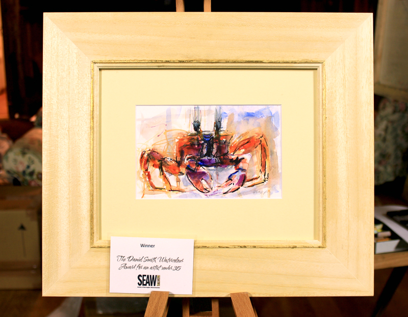 *SOLD*'Caribbean Crab', Watercolour and Indian Ink mounted in a natural wood frame with gold leaf bevel, 42x36cm WINNER OF THE DAVID SMITH WATERCOLOUR AWARD 2016